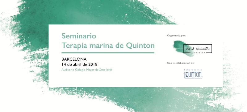 Cartel del seminario médico sobre Terapias con Agua de Mar impartido por la Fundación René Quinton en Barcelona